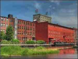 Here's a view of downtown Lowell, including the Lowell Sun building
