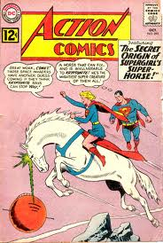 Supergirl rides Comet the Super-Horse as her cousin Superman looks on.